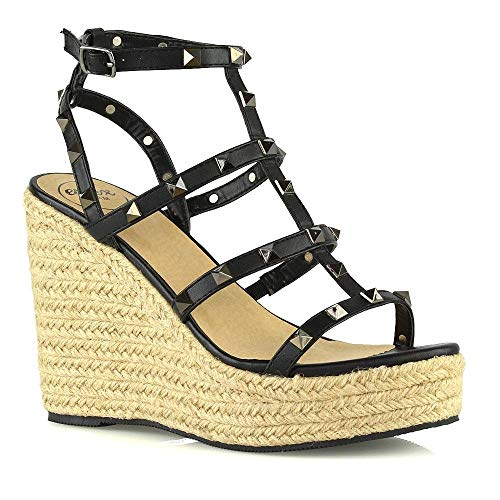 ESSEX GLAM Womens Wedge Heel Sandals Ladies Black Synthetic Leather Studded Gladiator Platform High Heel Ankle Strap Holiday Summer Shoes 7 B(M) US