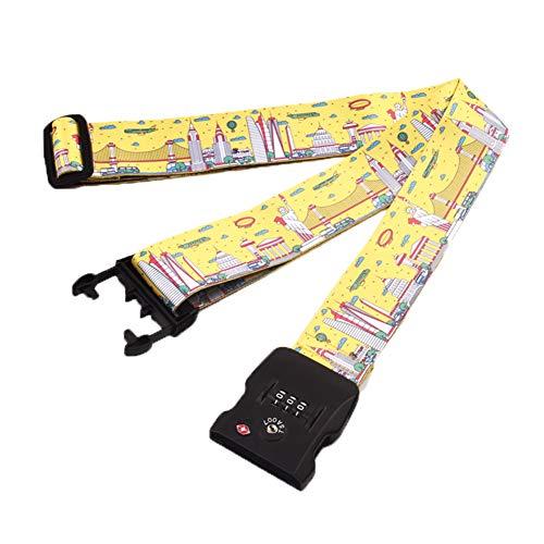 STL スーツケースベルト TSAロック搭載 一字型 長さ調節可能 荷物固定バックル 荷締めベルト 荷締バンド 旅行 出張 (イエロー)