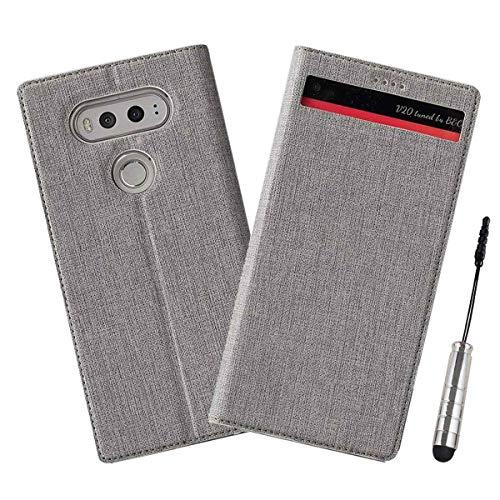 Ycloud Geschäft PU Leder Tasche für LG V20 Wallet Flipcase mit Standfunktion Kartenfächer Entwurf Grau Leinen Stil Hülle