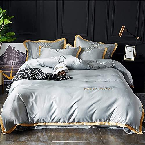 YangH Reine Farbe Waschbar Tencel Vierteiliges Set Kissenbezug Seide Nude Schlaf Vierteilige Ice Silk Bett Trampolin Rock Bettbezug Grau Saphirblau,Gray,Oversized
