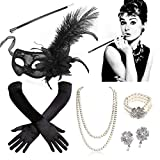 SPECOOL 1920s Accesorios Set Flapper Disfraces Años 20 Disfraz Great Gatsby Conjunto de Flapper Acessorios Máscara Collar Guantes Porta-Cigarrillos Perlas Pendientes Disfraces Set