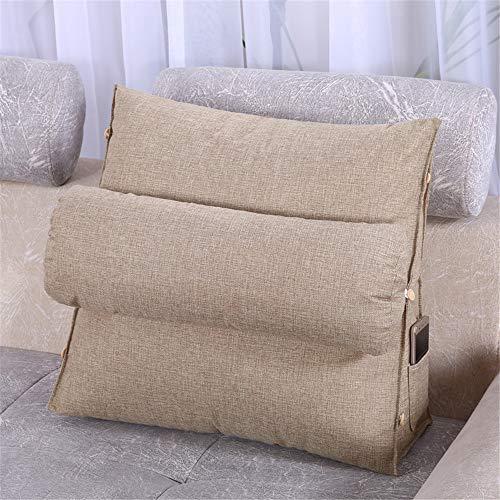 BCLGCF Cojín de cuña ajustable para lectura y espalda, cojín ergonómico para respaldo lumbar para sofá, respaldo triangular, respaldo de cama, respaldo lumbar, color caqui, 60 x 50 x 20 cm