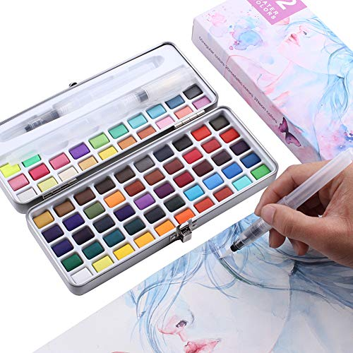 PANDAFLY Watercolor Paint Set - 72 Assorted Vibrant Colors with Bonus 3 Water Brush Pen - Foldable Palletes Travel Pocket Field Sketch Kit, Perfect for Artists, Students, Beginners