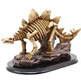 H&W Stegosaurus Skeleton Figurines Statue, 5''H Dinosaur Fossil Office Desk Decoration, Collectible Figurines for Home and Study