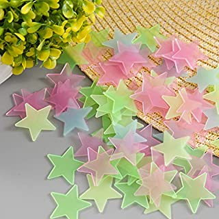Satya Vipal Plastic Luminous Glow in Dark Stars Multi Color Kids Favourite -30 Stars 3x3 cm