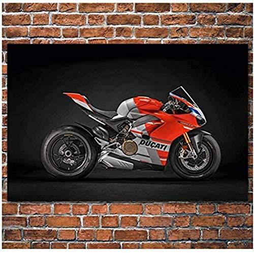 """Sunsightly Superbike Ducati Motocicleta Coche Rojo Cuadro Lienzo Posters Impresiones Arte De La Pared Decoración del Hogar Apartamento Moderno Sin Marco 80x120cm (32""""× 48"""")"""