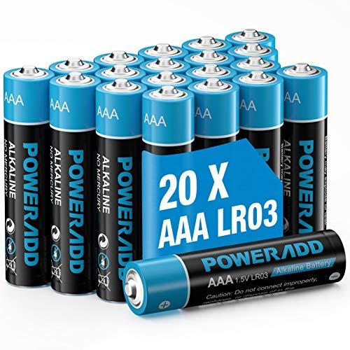 POWERADD Batterie Alcaline AAA Confezione da 20 Mini Pile Stilo AAA da 1.5V
