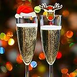 Kompanion 20 Tarjetas de Decoración para Vaso Copas de Vino de Navidad – Accesorio Ideal para Cena de Celebración Navideña – Articulo Decorativo 10 de Gorro de Santa y 10 de Reno