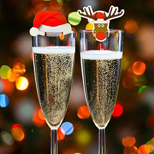 Kompanion 20 Tarjetas de Decoración para Vaso Copas de Vino de Navidad – Accesorio Ideal para Cena de...