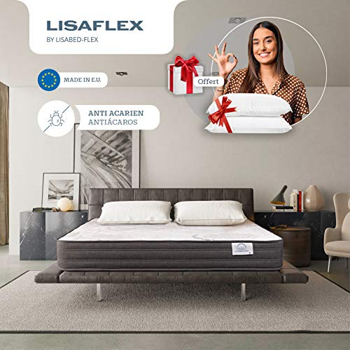 Lisabed Flex | Colchón Lisa-Flex 135x190 cm | Viscoelástico de Grafeno de Alta Densidad | Reversible Invierno/Verano | Gama Prestige Hotel | 26 cm (+/- 2 cm) | 2 Almofadas Incluido