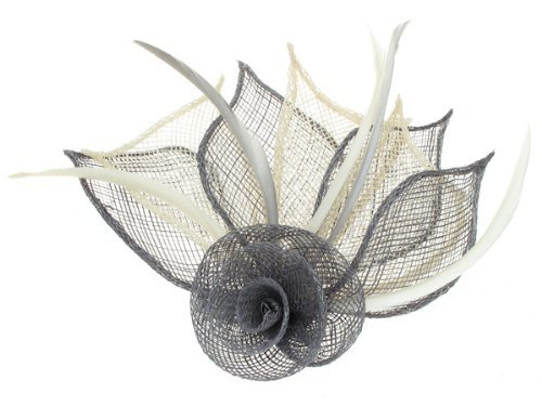 2 Tone coloured rose fascinator on a beak clip and brooch pin in Grey