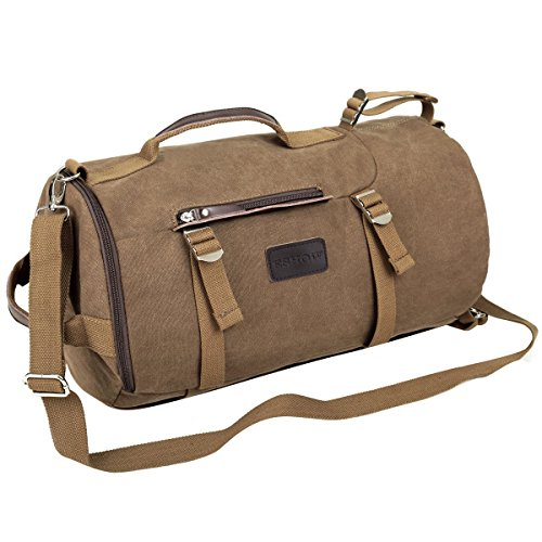 Eshow Men's Canvas Backpack Shoulder Handbag Travel Duffel Bag Retro Weekend Overnight Outdoor Hiking Camping Cylinder Bag Brown