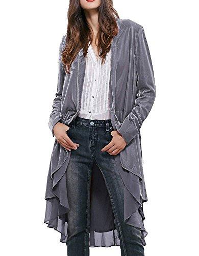 Minetom Damen Rüschen Asymmetrische Lange Samt Mantel Casual Blazer Trench Jacken Elegant Langarm Einfarbig Oversized Umhang Windjacke Cardigan Grau DE 40