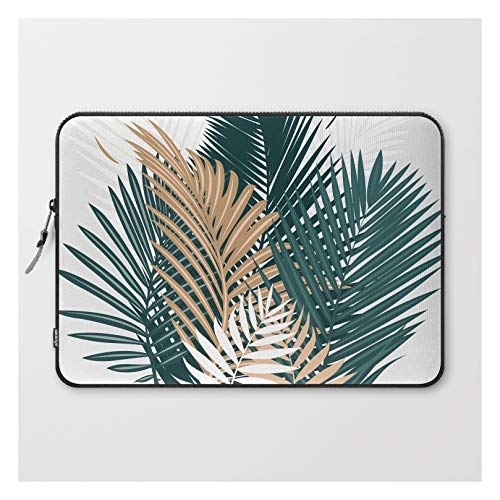 Gold and Green Palm Leaves by Evamatise on Laptop Sleeve - Laptop Sleeve - 15'