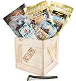 Booze-Infused Jerky Crate – Includes 8 Sampler Varieties of Deliciously Buzzworthy, Alcohol Flavored Jerky – Great Gifts for Men
