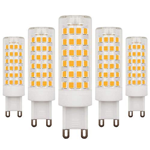 LED-lampen, G9, dimbaar, warmwit, 3000 K, 4,5 W, komt overeen met Alogena 40 W-50 W, 220 V-240 V, 5 stuks
