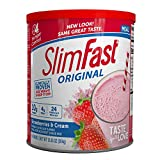 SlimFast Original Strawberries & Cream Meal Replacement Shake Mix – Weight Loss Powder – 12.83 oz Canister – 14 servings - Pantry Friendly
