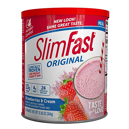 SlimFast Original Strawberries & Cream Meal Replacement Shake Mix – Weight Loss Powder – 12.83 oz Canister – 14 servings