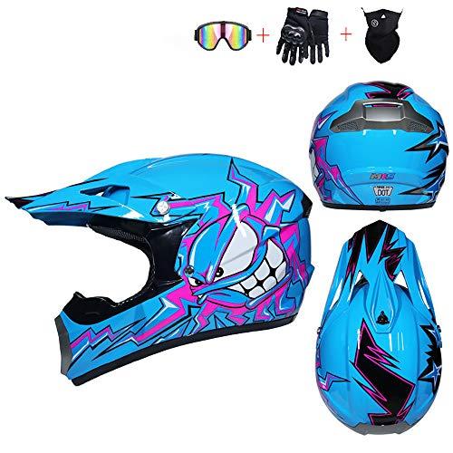 JCLDG Casco para Motocross Infantil, 4pcs Juego de Casco de Moto + Gafas + Guantes de Motocicleta + Mascarilla, Moto Quad Enduro MX ATV BMX, Apto para Adultos y niños Hombre Mujer,Azul,S