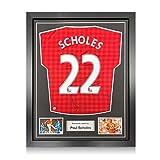exclusivememorabilia.com Camiseta del Manchester United firmada por Paul Scholes. 2012-13. Enmarcado