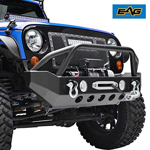 EAG Front Bumper with D-rings and Winch Plate Fit for 07-18 Wrangler JK Rock Crawler