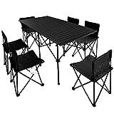 WULIHONG-CampingtischOutdoor Klapptisch- und Stuhlset tragbarer Aluminium-Campinggrill 7-teiliges Set selbstfahrender Picknicktisch- und Stuhlkombinationen
