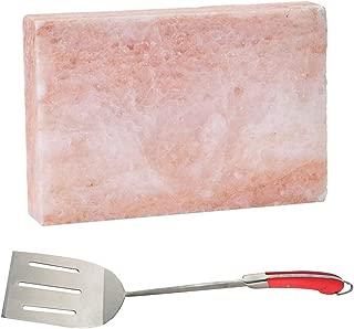 MRT SUPPLY Gourmet Himalayan Pink Salt Block & Avant Long Handle Flat Grilling Spatula with Ebook