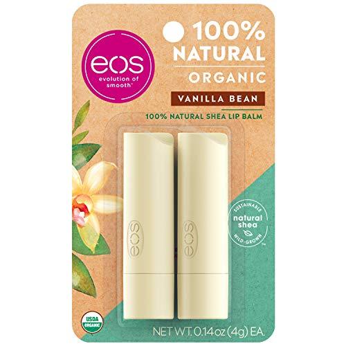 eos USDA Organic Lip Balm  Vanilla Bean | Lip Care to Moisturize Dry Lips | 100% Natural and Gluten Free | Long Lasting Hydration | 014 oz | 2 Pack