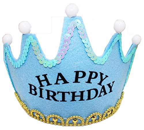Weihnachts Party Kronen HüteGlitzernde Grelle Geburtstag Partyhüte für Kinder und Erwachsene Partybedarf Zubehör - Geburtstag-Hellblau
