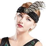 Coucoland 1920s Stirnband Damen Pfau Feder Turban Hut Stil 20er Jahre Flapper Haarband Great Gatsby Damen Fasching Kostüm Accessoires (Schwarz)