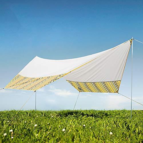 PQXOER Zeltplane Outdoor-Überdachung-Zelt Strand Camping Canopy Pergola Maxi-Folding Regenschutz Balkonmarkise Vordach 5-8 Personen Sonnensegel Camping (Color : Khaki, Size : 465x400x250cm)
