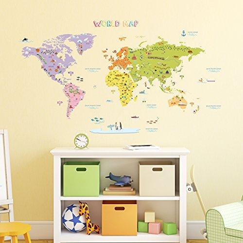 DECOWALL DAT-1306N Mappa del Mondo Colorato (Grande) (Ver. Inglese) Adesivi da Parete Decorazioni Stickers Murali Soggiorno Asilo Nido Camera Letto per Bambini decalcomanie
