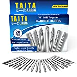 20PC Double Cut Carbide Burr Set - 0.118 Inch (3mm) Shank, Rotary Tool Cutting Bits - Accessories for Dremel, Fordom, Flex Shaft, Dewalt And Multitools - For Wood Carving, Metal Working And Engraving.