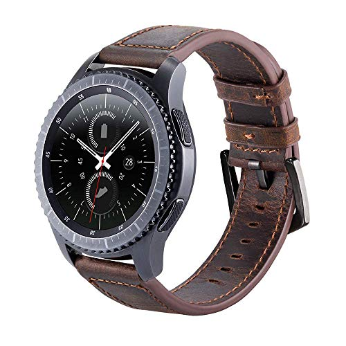 Armband für Gear S3 Frontier/Galaxy Watch 3 45mm, 22mm Uhrenarmband Echtes Lederband für Samsung Galaxy Watch 46mm & Huawei Watch 2 Classic/GT/GT 2 46mm/GT Active - Kaffee