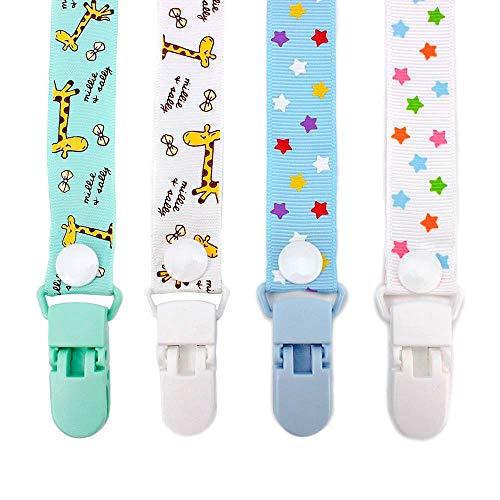 RUBY - Pack 4 Cadenas para Chupetes de Jirafas y Estrellas. Cintas Chupeteros Diseño Infantil Unisex.