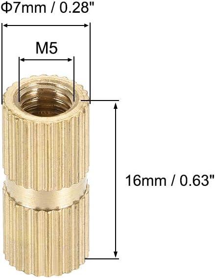 DO L 20 uds x 3.2mm sourcing map Tuercas de inserci/ón roscadas y moleteadas de lat/ón M2 x 4mm