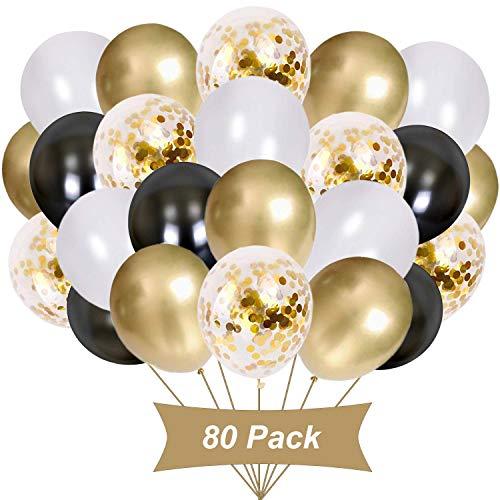 Gxhong 80 Piezas Globos Oro Blanco Negro,Globos metálicos Globos de Confeti de Oro Globos de látex Globos de Helio Globos de Colores para Boda niñas niños decoración de Fiesta de cumpleaños (Dorado)