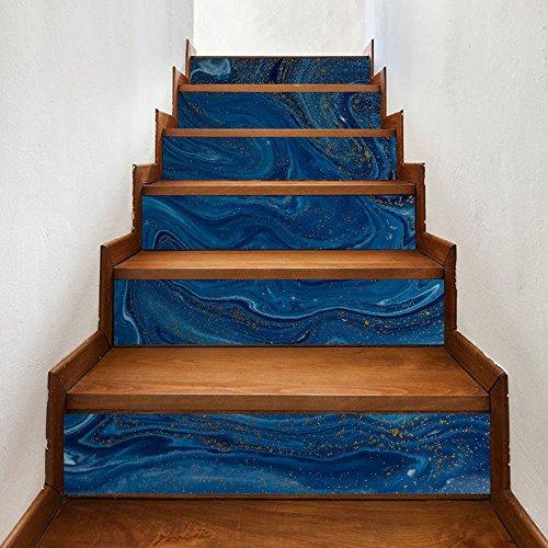 Usopu 6 pcs/Set DIY 3D Azul Oscuro de Mármol Grano Escalera Pegatina Home Step Decor Sticker