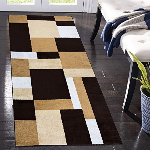 B&B Runner Rug for Hallway Geometric Pattern Hall Runner Washable Stair Carpet Runners For Living Room Bedroom Bedside (Kilas Brown Beige, 80 Cm X 150 Cm)