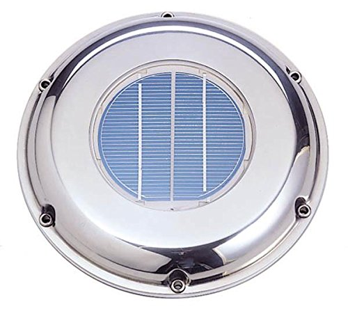 Sunvent SVT-224S Solar Ventilation Fan w/ Battery for Roof, Attic, RV, Boat, Greenhouse - Stainless Steel