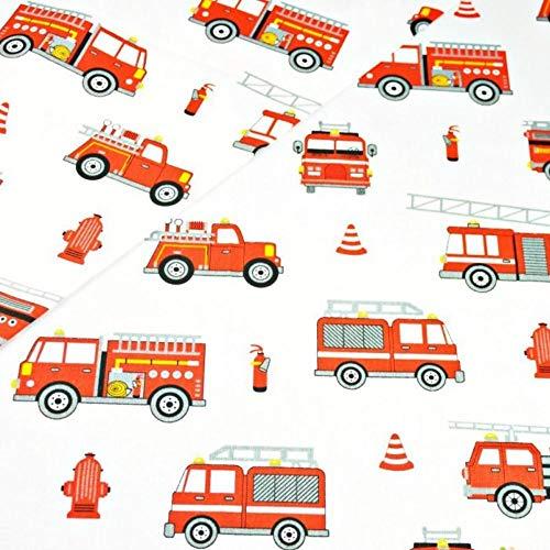 Pingianer 11,99€/m Auto Baufahrzeuge Polizei Feuerwehr 100% Baumwolle Baumwollstoff Kinder Meterware Handwerken Nähen Stoff (Feuerwehr Rot Weiß, 100x160cm (11,99€/m))