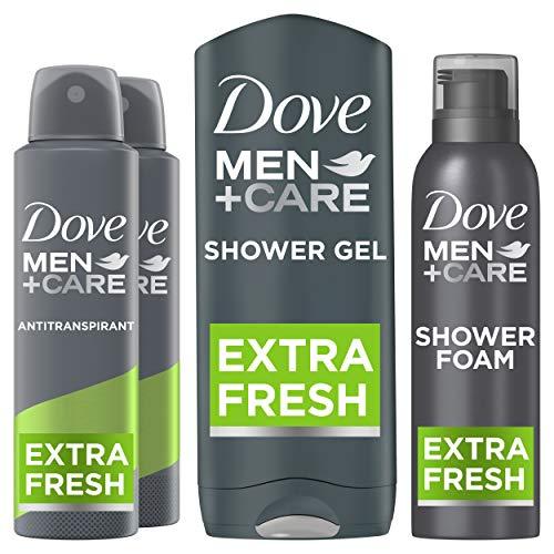 Dove Men+Care Extra Fresh Geschenkset - Anti-transpirant Deodorant, Douchegel en Doucheschuim Cadeaupakket