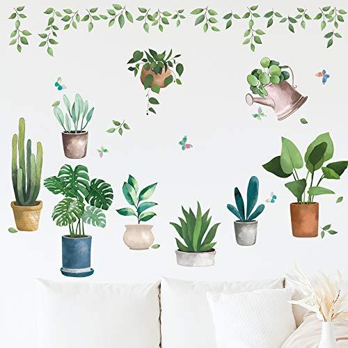 Pegatinas de Pared Planta, Etiqueta de la Pared Planta en Maceta Vinilos Decorativas pared de Sala de Estar de Dormitorio Adhesivo de Pared Autoadhesivo Extraíble (Verde)