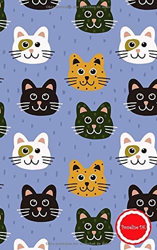 Pomeline DK: Aimee Cuaderno de notas A5 pequeño tapa blanda de rayas libreta de viaje vintage diario para escribir idea de regalo cumpleaños fiesta ... los gatos gatito mascota hombres mujer niños
