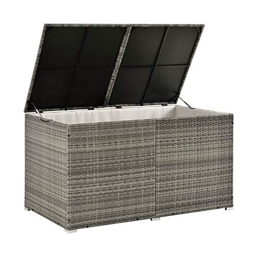 ArtLife Polyrattan Auflagenbox Ikaria 950 L – Deckel mit Hubautomatik & Innenplane – Kissenbox 145 x 82 x 79 cm für Garten – Gartenbox grau-meliert