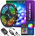 32.8ft Smart LED Strip Lights, HitLights LED Light Strips 5050 Color Changing Tape Lights Works with Alexa, Google Home APP Control Music Sync RGB Strip Lights with Remote for Home Bedroom Party