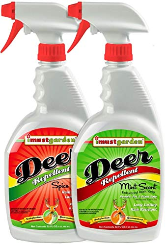 I Must Garden Deer Repellent [2 Pack: Mint Scent + Spice Scent] - Natural Deer Spray for Gardens & Plants – Two 32oz RTU Bottles