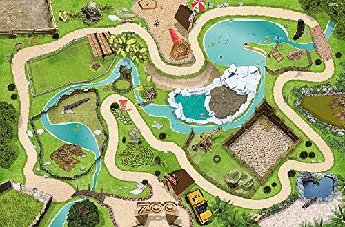 Tierpark Spielmatte (ähnlich Spielteppich) | SM04 | Hochwertige Zoo Spiel-Matte für das Kinder-Zimmer | ideales Zubehör zu Spiel-Figuren von Schleich, Playmobil, Papo, Bullyland & Co | 150 x 100 cm | STIKKIPIX