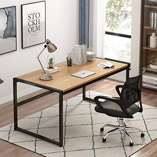 TIYKI Pc Computer Schreibtisch Workstation,Industriedesign Home Office-Tabelle,Mehrzweck Studien-konferenztisch Für Wohnzimmer Essen-Gelbe Ulme...