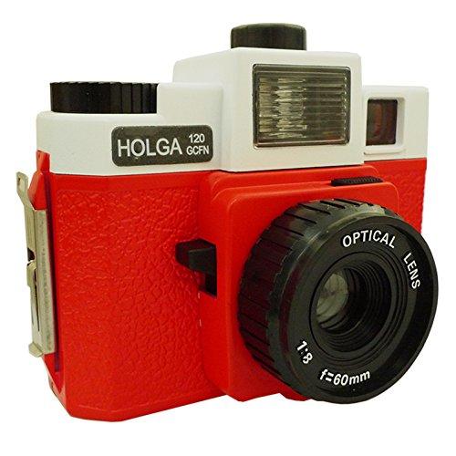 Holga Cámara de fotos 120GCFN (lente de cristal, flash multicolor), color blanco y rojo